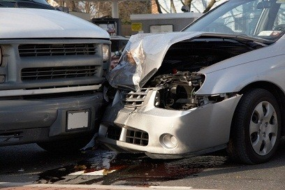 Close-up car accident