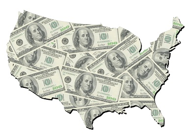 map of united states with random one hundred dollars bills background