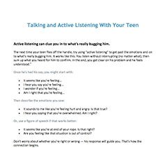 Talking and Active Listening With Your Teen Quiz