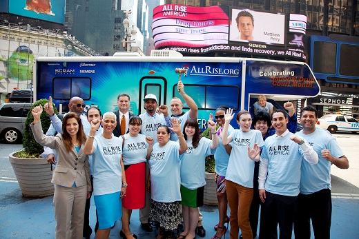 All Rise America! and the Brooklyn, NY Treatment Court celebrate in Times Square.