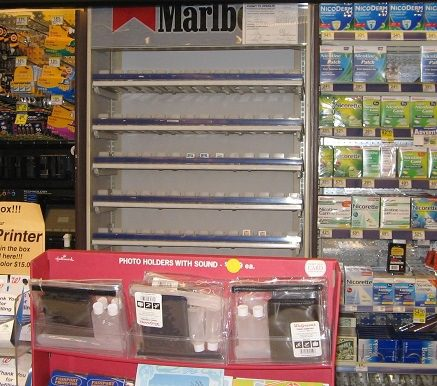 Legacy- Bare Marlboro shelf at 825 Market St Walgreens at 10pm Sep 30 08 Bob G