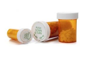 Medicine bottles on a white background