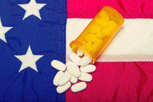 Prescription Medicine On The American Flag
